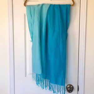 Teal Ombré scarf with Fringe